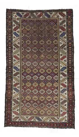 00515-Antique Shiraz Rug - 4'  x 6' 7'' (122 cm x 200 cm)