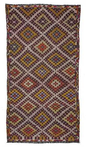 Vintage Decorative Turkish Tribal Kilim Rug