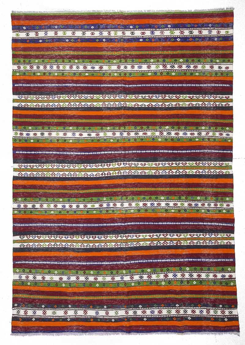Vintage Decorative Turkish Tribal Kilim Rug-0524