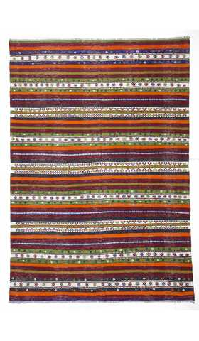 0524-Vintage Decorative Turkish Tribal Kilim Rug - 5' 4'' x 7' 10'' (163 cm x 238 cm)