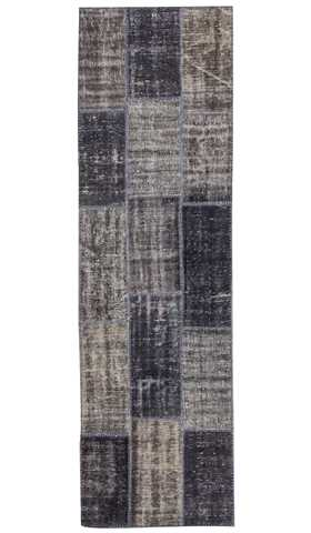 Grey Over-dyed Patchwork Runner
