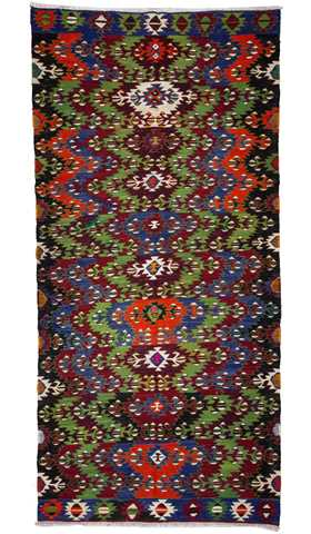 Decorative Vintage Afyon Kilim Rug