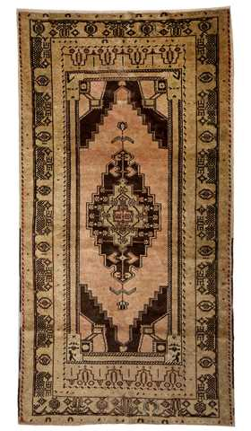 5686-Vintage Soft Color Turkish Rug - 4' 3'' x 8' 2'' (130 cm x 250 cm)