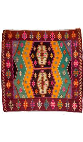 5866-Decorative Kilim Rug, Turkish Kilim Rug, Multi Color Kilim Rug - 6' 2'' x 6' 2'' (187 cm x 187 cm)