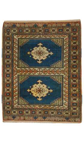 5884-Vintage Decorative Turkish Tribal Rug - 4' 1'' x 5' 2'' (125 cm x 158 cm)