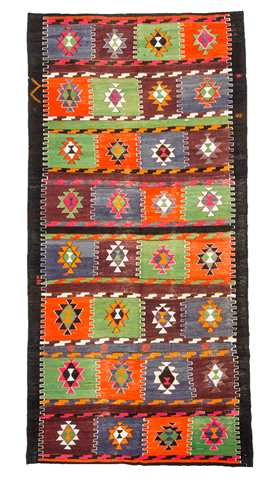 7442-Multi Color Turkish Kilim Rug - 4' 8'' x 10'  (142 cm x 305 cm)