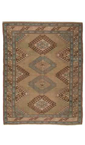 7534-Vintage Turkish Rug - 4' 2'' x 5' 4'' (128 cm x 162 cm)