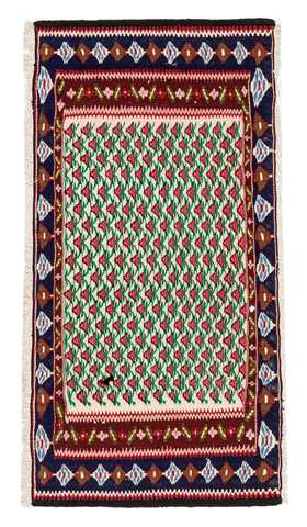 7648-Vintage Small Turkish Kilim Rug - 1' 7'' x 3'  (48 cm x 92 cm)