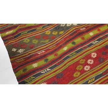 Vintage Turkish Kilim Rug-7772 detail 4